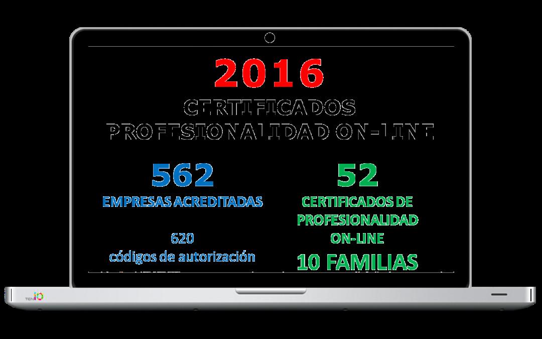 Evolución de la Acreditación de los Certificados de Profesionaliadad en Teleformación en 2016
